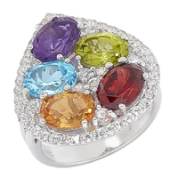 Gem RoManse Sterling Silver Multi Gemstone Brilliant Bouquet Ring
