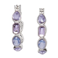 Nine West Lucky Lavender Hoop Stone Earrings