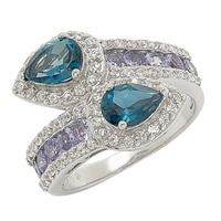 Sterling Silver Blue Topaz, Tanzanite & Zircon Ring