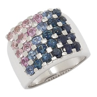 Sterling Silver Blue & Pink Sapphire Shaded Ring