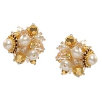 Miriam Haskell Gold Pearl Cluster Earrings