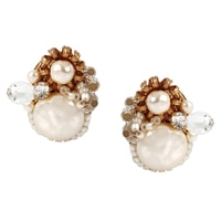 Miriam Haskell Pearl Crystal Button Earrings
