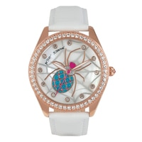 Betsey Johnson Ladies' White Leather Strap Spider Watch
