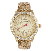 Betsey Johnson Ladies' Gold Python Leather Strap Watch