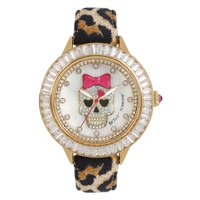 Betsey Johnson Ladies' Light Leopard Print Leather Strap Watch