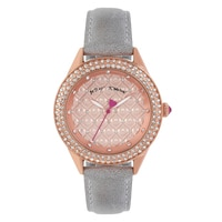 Betsey Johnson Ladies' Light Grey Leather Strap Watch