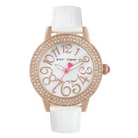 Betsey Johnson Ladies' White Leather Strap Watch