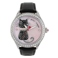 Betsey Johnson Ladies' Black Leather Strap Watch