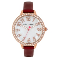 Betsey Johnson Ladies' Burgundy Leather Strap Watch