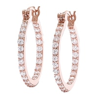 Diamonelle Sterling Silver In & Out Hoop Earrings