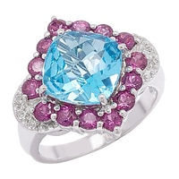 Gem RoManse Sterling Silver Swiss Blue with Rhodolite & White Topaz Accent Ring