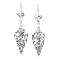 Pendants d'oreille en forme de feuilles en argent sterling à filigrane de Ottoman Silver