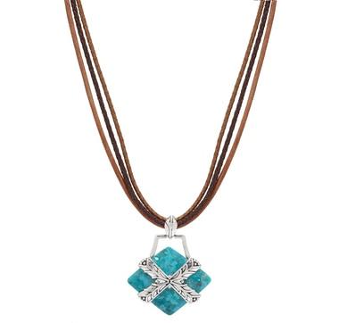 Collier à pendentif Encompass en argent sterling et orné d'une turquoise de Studio Barse