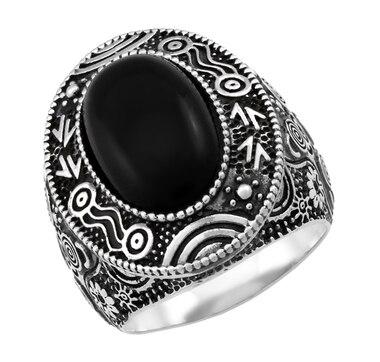 Sterling Silver Oval Australian Black Jade Ring