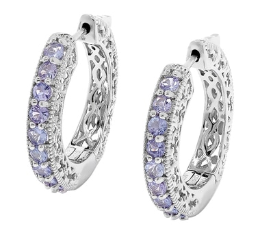 Sterling Silver Tanzanite Filigree Design Hoop Earrings