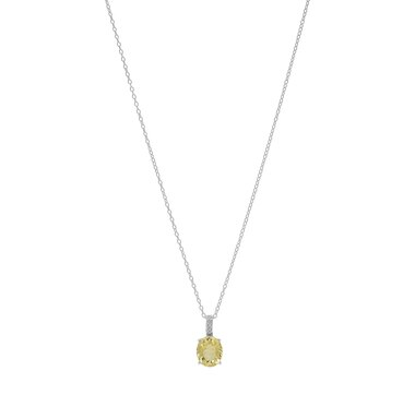 Sigal Style Sterling Silver Lemon Quartz & White Topaz Pendant with Chain