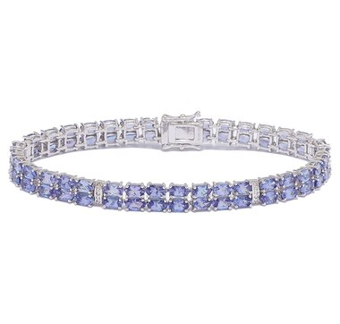 Sterling Silver Rhodium Plate Tanzanite & Diamond Bracelet