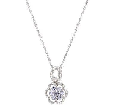 Sterling Silver Tanzanite Floral Pendant