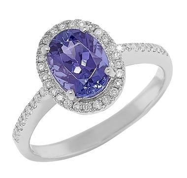 10K White Gold Tanzanite & Diamond Ring