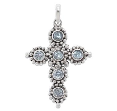 Samuel B. Sterling Silver Gemstone Cross Pendant