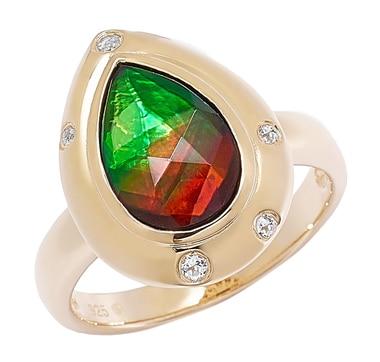 Ammolite Gems Sterling Silver Faceted Teardrop Ammolite & Topaz Ring