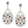 Sterling Silver Multi Gemstone Earrings