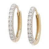 14K Gold Diamond Huggie Hoop Earrings