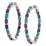Sterling Silver Multi-Gemstone Hoop Earrings
