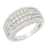 Clarity Diamonds Sterling Silver Multi-Row Diamond Ring