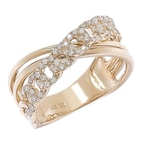 14K Yellow Gold Diamond Crossover Ring
