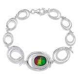 Ammolite Gems Sterling Silver Ammolite & Topaz Oval Stationed Bracelet