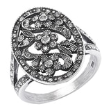 Timeless Classics Sterling Silver Crystal Victorian Oval Ring