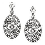 Timeless Classics Sterling Silver Crystal Victorian Oval Drop Earrings