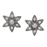 Timeless Classics Sterling Silver Crystal Victorian Stud Earrings
