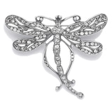 Timeless Classics Sterling Silver Crystal Art Nouveau Dragonfly Brooch