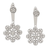10K White Gold Diamond Floral Drop Earrings