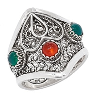 Ottoman Silver Sterling Silver Three Stone Heart Filigree Ring