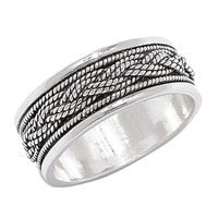 Ottoman Silver Sterling Silver Braided Top Ring