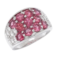 Gem Finds Sterling Silver Rhodolite & White Topaz Ring
