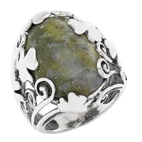 Connemara Marble Sterling Silver Large Shamrock Ring