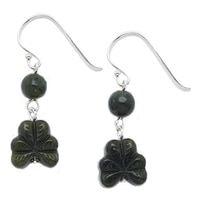 Connemara Marble Carved Shamrock Earrings