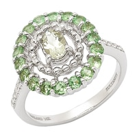 Zultanite Gems 14K White Gold Zultanite, Tsavorite & Diamond Ring