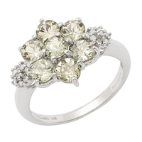 Zultanite Gems 14K White Gold Zultanite & Diamond Cluster Ring