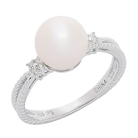 Imperial Pearls Sterling Silver Freshwater Pearl & White Topaz Ring