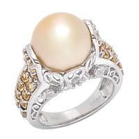 Bague ornée d'une perle dorée des mers du Sud, de citrines et de topazes blanches sur argent sterling de Imperial Pearls