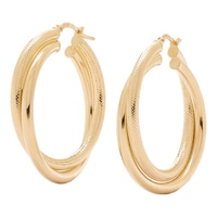 Bronzoro Italia Multi Textured Double Hoop Earrings