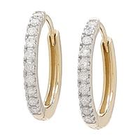 Créoles miniatures ornées de diamants sur or 14 ct