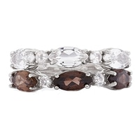 Sigal Style Sterling Silver Rhodium Plate Stackable Gemstone Rings