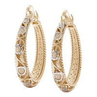 Jewellery of The Grand Bazaar Two Toned Filigree Hoop Earrings