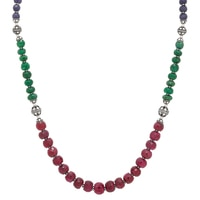 Sterling Silver Multi Gemstone Bead Necklace